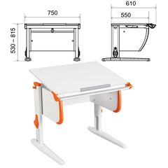 Стол-парта регулируемый ДЭМИ СУТ.24, 750х610х530-815 мм, белый/оранжевый (КОМПЛЕКТ)
