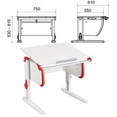 Стол-парта регулируемый ДЭМИ СУТ.24, 750х610х530-815 мм, белый/красный (КОМПЛЕКТ)