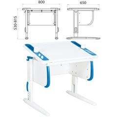 Стол-парта регулируемый ДЭМИ СУТ.26, 800х650х530-815 мм, белый/синий (КОМПЛЕКТ)